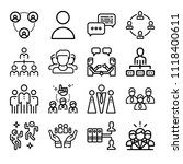 set of 16 group outline icons... | Shutterstock .eps vector #1118400611
