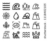 set of 16 nature outline icons... | Shutterstock .eps vector #1118402105