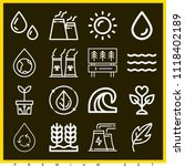 set of 16 nature outline icons... | Shutterstock .eps vector #1118402189
