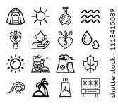 set of 16 nature outline icons... | Shutterstock .eps vector #1118415089