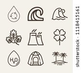 set of 9 nature outline icons... | Shutterstock .eps vector #1118415161