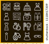 set of 16 fashion outline icons ... | Shutterstock .eps vector #1118417309