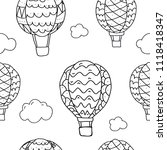 seamless pattern with hot air... | Shutterstock .eps vector #1118418347