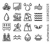 set of 16 nature outline icons... | Shutterstock .eps vector #1118420225