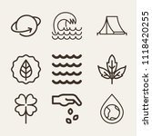 set of 9 nature outline icons... | Shutterstock .eps vector #1118420255