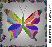 raster outline mandala on beige ... | Shutterstock .eps vector #1118428799