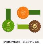 organic natural tag ribbon and... | Shutterstock .eps vector #1118442131