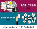 flat illustration analytics... | Shutterstock .eps vector #1118444969