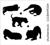 black dogs playing silhouette.... | Shutterstock .eps vector #1118449334