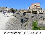 uplistsikhe   may 5  tourists... | Shutterstock . vector #1118451035