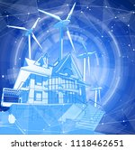 a modern house and windmills on ... | Shutterstock .eps vector #1118462651