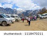 gergeti   may 4  tourists enjoy ... | Shutterstock . vector #1118470211