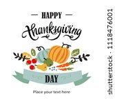 happy thanksgiving hand drawn... | Shutterstock .eps vector #1118476001