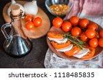 italian bruschetta with chopped ... | Shutterstock . vector #1118485835