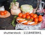 italian bruschetta with chopped ... | Shutterstock . vector #1118485841