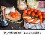italian bruschetta with chopped ... | Shutterstock . vector #1118485859