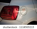petrol tank white car with... | Shutterstock . vector #1118505215
