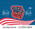 july 4th bbq party lettering... | Shutterstock .eps vector #1118511869