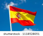 flag of spain waving in the... | Shutterstock . vector #1118528051