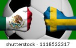 Flags of Mexico and Sweden painted on two clenched fists facing each other with closeup 3d soccer ball in the background/Football match concept
