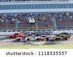 Small photo of June 17, 2018 - Newton, Iowa, USA: Justin Allgaier (7) and Christopher Bell (20) lead the field to a restart during the Iowa 250 at Iowa Speedway in Newton, Iowa.