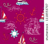 nautical seamless pattern with... | Shutterstock . vector #1118553707