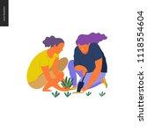 people summer gardening   flat... | Shutterstock .eps vector #1118554604