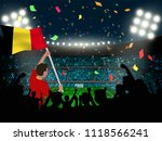 supporter hold belgium flag... | Shutterstock .eps vector #1118566241