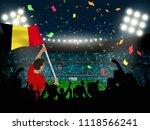 supporter hold belgium flag... | Shutterstock .eps vector #1118566241