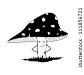 amanita mushroom  black white  | Shutterstock .eps vector #111856721