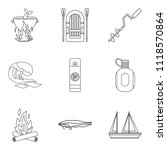 marine fauna icons set. outline ... | Shutterstock . vector #1118570864