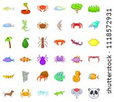 spring icons set. cartoon style ... | Shutterstock . vector #1118572931