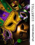 multiple mardi gras masks on a...   Shutterstock . vector #1118577311
