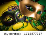 two mardi gras mask with...   Shutterstock . vector #1118577317