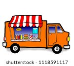 a street food truck in the city ... | Shutterstock . vector #1118591117