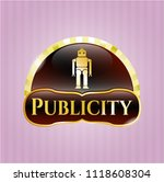 gold emblem with robot icon... | Shutterstock .eps vector #1118608304