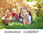 little girl with fruit. | Shutterstock . vector #111860837
