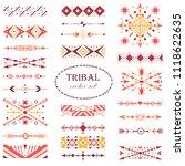 red ethnic vector set. brush... | Shutterstock .eps vector #1118622635
