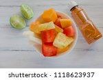 fruta con chile  mexican snack  ...   Shutterstock . vector #1118623937