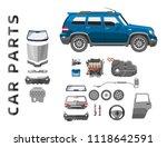 car service parts flat auto... | Shutterstock .eps vector #1118642591