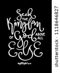 hand lettered seek the kingdom... | Shutterstock .eps vector #1118646827