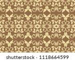 seamless damask pattern.... | Shutterstock .eps vector #1118664599