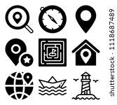 vector icon set  about location ... | Shutterstock .eps vector #1118687489