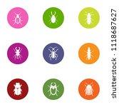 bark beetle icons set. flat set ... | Shutterstock .eps vector #1118687627
