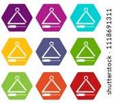 musical triangle icons 9 set... | Shutterstock .eps vector #1118691311