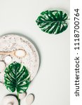 flat lay layout with monstera... | Shutterstock . vector #1118700764