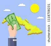 hand with green bills  ... | Shutterstock .eps vector #1118708231