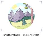icon with nature. mountains and ... | Shutterstock .eps vector #1118713985