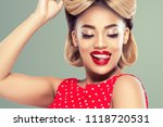 pin up girl afro woman vintage... | Shutterstock . vector #1118720531