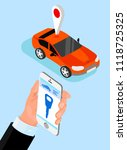 red car and hand with... | Shutterstock .eps vector #1118725325